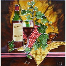 Wine with Yellow Table Cloth Tile Wall Decor
