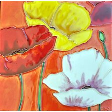 3 Poppies with Orange Background Tile Wall Decor