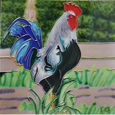 Blue Tail Rooster Tile Wall Decor