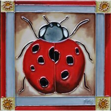 Ladybug Framed in Red Tile Wall Decor