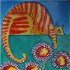 Cartoon Orange Cat Tile Wall Decor