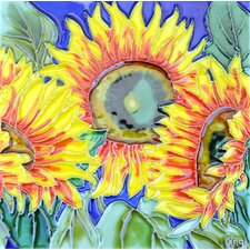 3 Sunflowers And Blue Background Tile Wall Decor