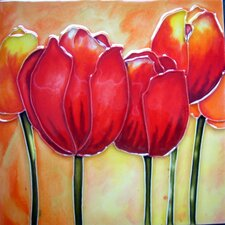 Red Tulips Tile Wall Decor