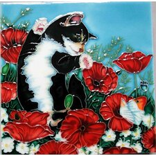Black and White Kitten with Red Poppies Tile Wall Decor