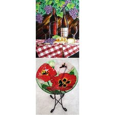 Red Table Cloth and Wine Tile Wall Decor