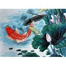 Lotus Pond Koi Fish Tile Wall Decor