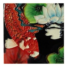 Red Fish Tile Wall Decor