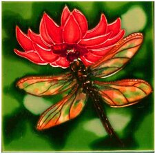 Dragonfly with Red Flower Tile Wall Decor