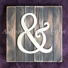 Ampersand Monogram Letter Mounted on Rustic Wood Board Wall Decor