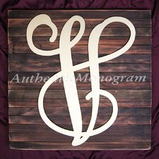 Dollar Sign Monogram Letter Mounted on Rustic Wood Board Wall Decor
