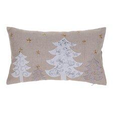 White Christmas Trees Lumbar Pillow