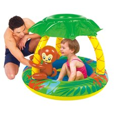 Round Inflatable Palm Tree Sun Shade Baby Pool with Monkey and Banana