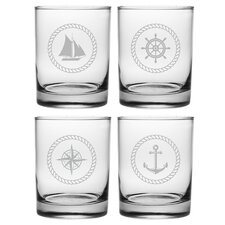 Nautical Badge 14 Oz. 4 Piece Rocks Glass Set