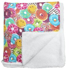 Donuts Sherpa Sherpa Lined Throw Blanket
