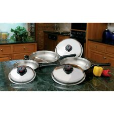 Precise Heat 6 Piece Stainless Steel Skillet Set with Lids