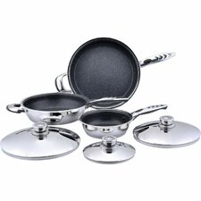 Precise Heat 6 Piece Stainless Steel Nonstick Skillet Set with Lid