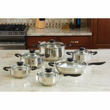 Wyndham House by Justin Wilson 12 Piece Stainless Steel Cookware Set