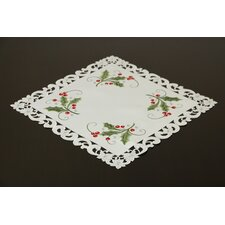 Fine Linen Holiday Green Holly and Lace Square Table Topper