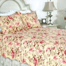 Lelia Pink Rose Cottage 3 Piece Quilt Set