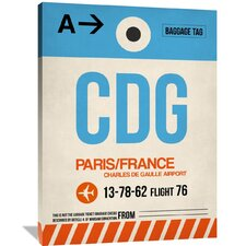 CDG Paris Luggage Tag 2 Painting Print on Wrapped Canvas