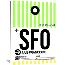 SFO San Francisco Luggage Tag 3 Painting Print on Wrapped Canvas