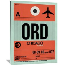 ORD Chicago Luggage Tag 2 Painting Print on Wrapped Canvas