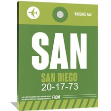 SAN San Diego Luggage Tag 2 Painting Print on Wrapped Canvas