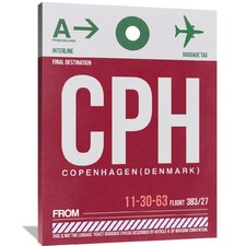 CPH Copenhagen Luggage Tag 2 Painting Print on Wrapped Canvas