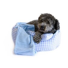 3 Piece Checkered Dog Bed Set with Squeaker