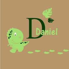 Baby Dinosaur with Personalized Name and Initial Wall Decal