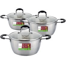 3 Piece Sauce Pot Set with Lid (Set of 3)