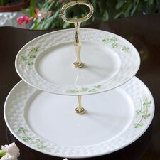 Shamrock Two Tiered Cake Plate (Set of 2)