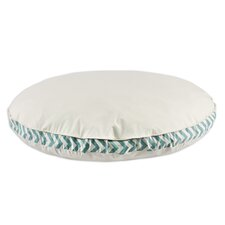 Saxony Round Pet Bed with Zig Zag Band and Top Cording
