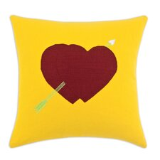 Two Lava Hearts and Arrow Cotton Throw Pillow
