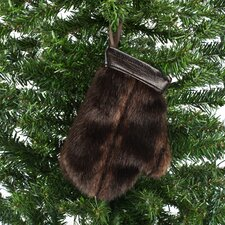 Taline Fur Mitten Ornament with Hanger (Set of 2)