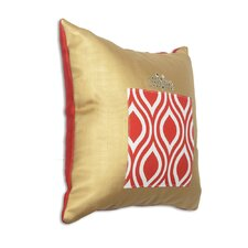 Shimmer Gold/Burlap Red with Lipstick Beaded Present Fiber Pillow