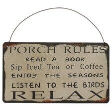 """Porch Rules"" Antique Wisdom Sign Wall Décor"