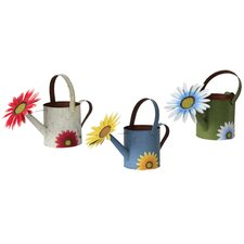 Spring Garden Watering Can Wall Décor (Set of 3)