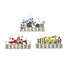 3 Piece Spring Garden Welcome Sign Wall Décor Set
