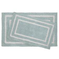2 Piece Reversible Cotton Plush Double Border Bath Mat Set