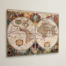 World Map by Henricus Hondius 2 Piece Painting Print on Canvas Set