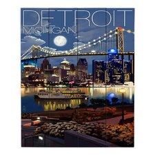 Detroit Michigan Skyline by Lantern Press Painting Print on Wood Planks