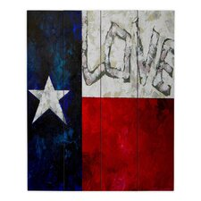 Love For Texas by Patti Schermerhorn Painting Print on Wood Planks