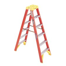 6 ft Fiberglass Twin Step Ladder with 300 lb. Load Capacity