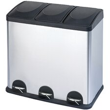16 Gallon 3-Compartment Stainless Steel Trash and Recycling Bin