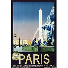 'Paris Travel' Vintage Advertisement on Wrapped Canvas