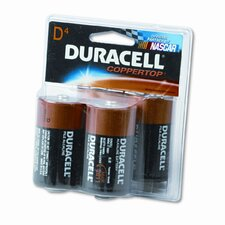 Coppertop Alkaline Batteries, D, 4/pack