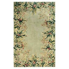 Emerald Sage Tropical Border Area Rug