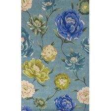Catalina Blue Floral Oasis Area Rug