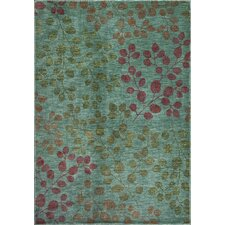 Zen Teal Foliage Area Rug
